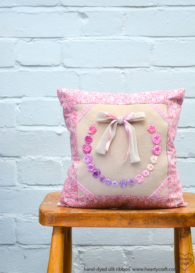 Cushion with Silk Ribbon Roses tutorial - Finished