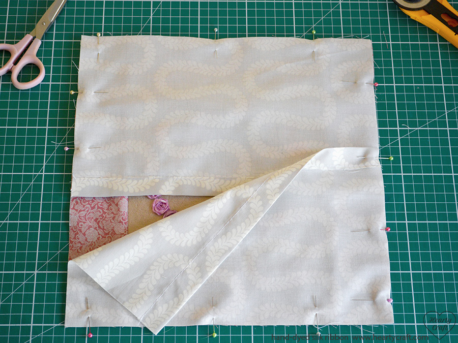 Cushion with Silk Ribbon Roses tutorial - Assembling the Cushion Cover