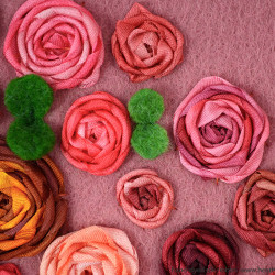 Attaching leaves cushion with ribbon roses tutorial 2
