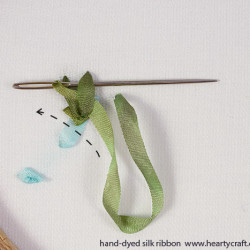 Finishing with a knot- silk ribbon embroidery (1)