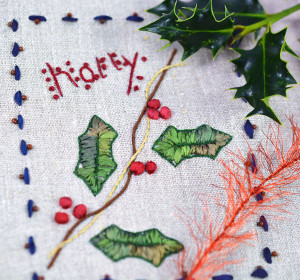 Holly silk ribbon embroidery