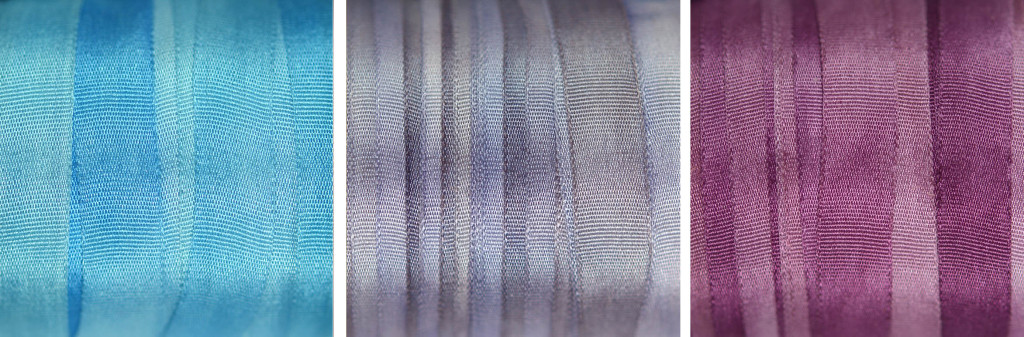 7mm wide blue and violet silk ribbon