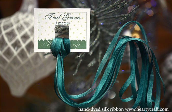 Teal Green Silk Ribbon