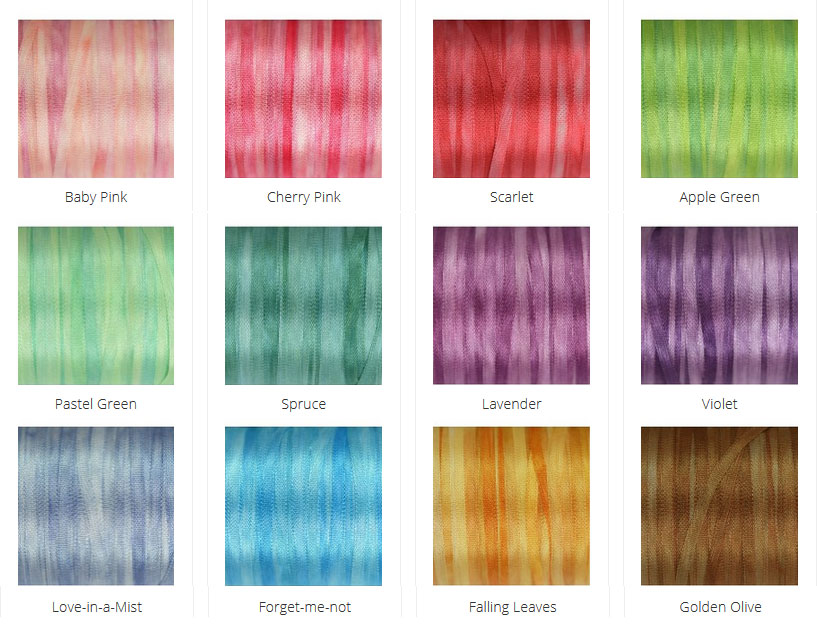 A selection of 2mm wide hand-dyed silk ribbon