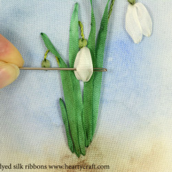 Embroidering snowdrops petals with silk ribbon 2