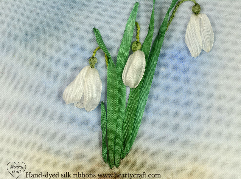 Silk ribbon embroidery tutorial snowdrops hearty craft