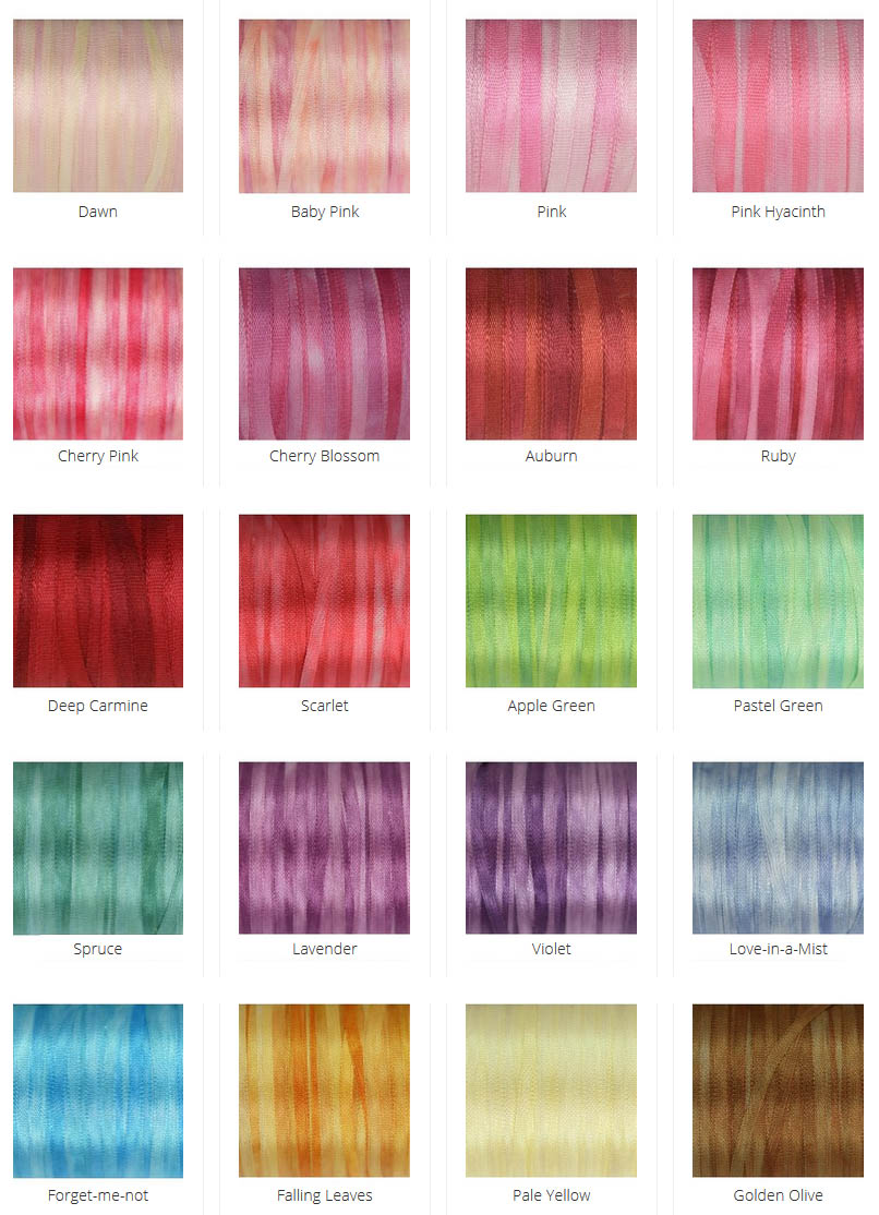 Selection of 2mm wide silk ribbon
