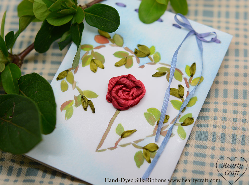Valentine card silk ribbon embroidery