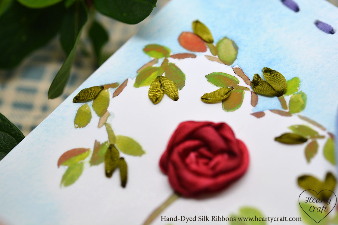 Valentine card with silk ribbons
