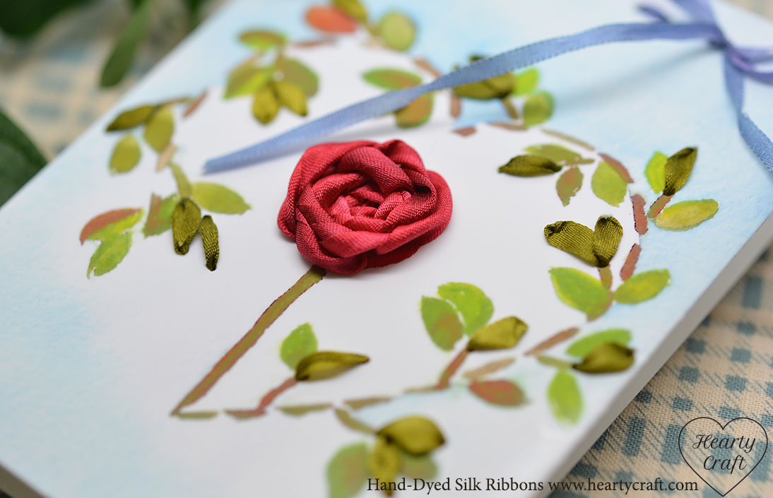 Valentine card. Embroidered Silk Rose