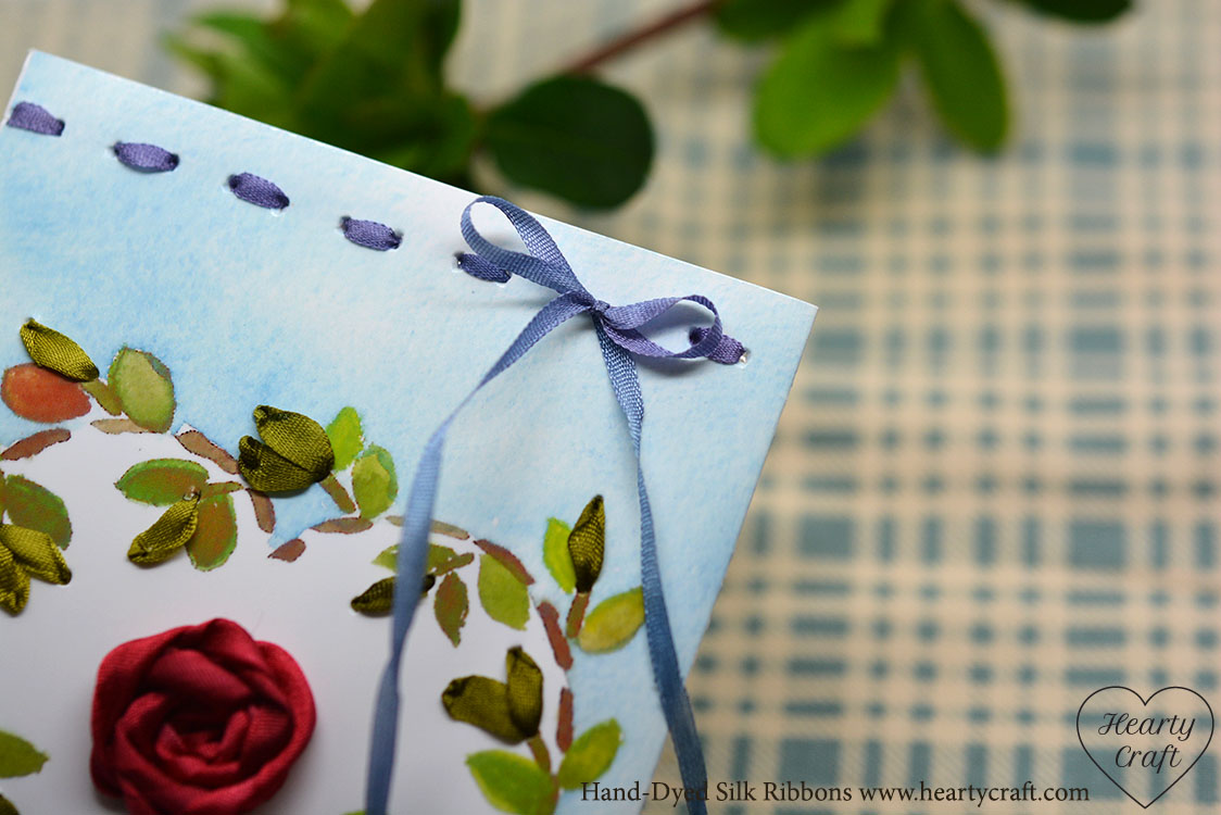 Valentine card. Silk ribbon bow.