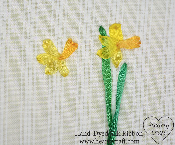 Stitching a daffodil cup with silk ribbon
