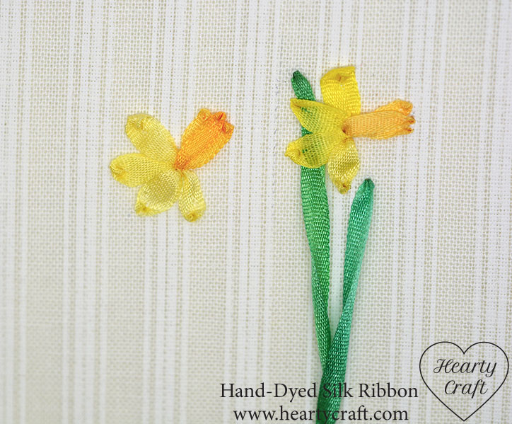 Daffodil cup with silk ribbon