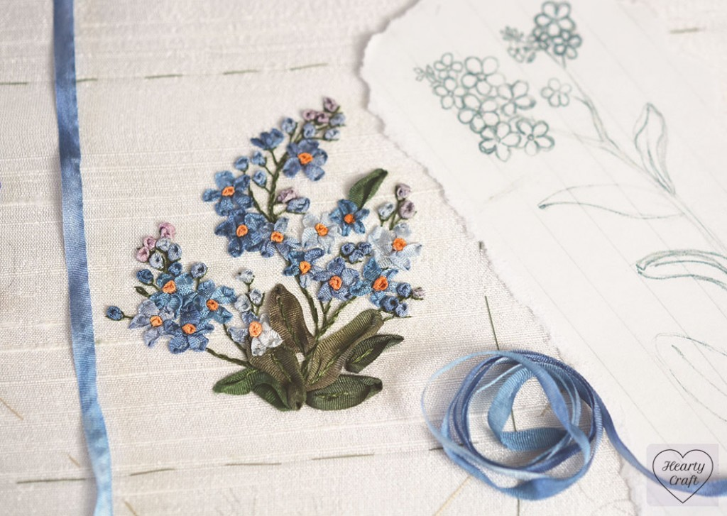 Forget-me-not embroidery with silk ribbons