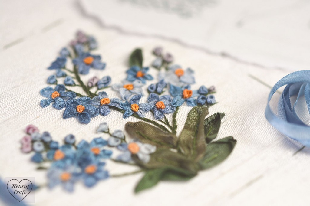 Forget-me-not silk ribbon embroidery 3