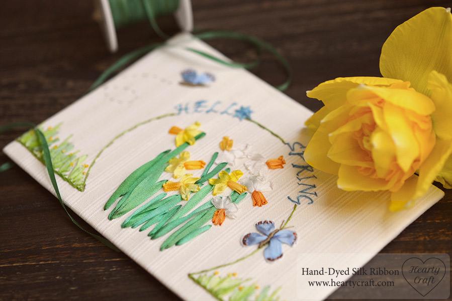Hello Spring. Silk Ribbon Embroidery