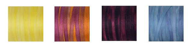 Yellow Sun, Gold Pancy, Dark Bordeaux, and Sea Blue Silk Ribbons