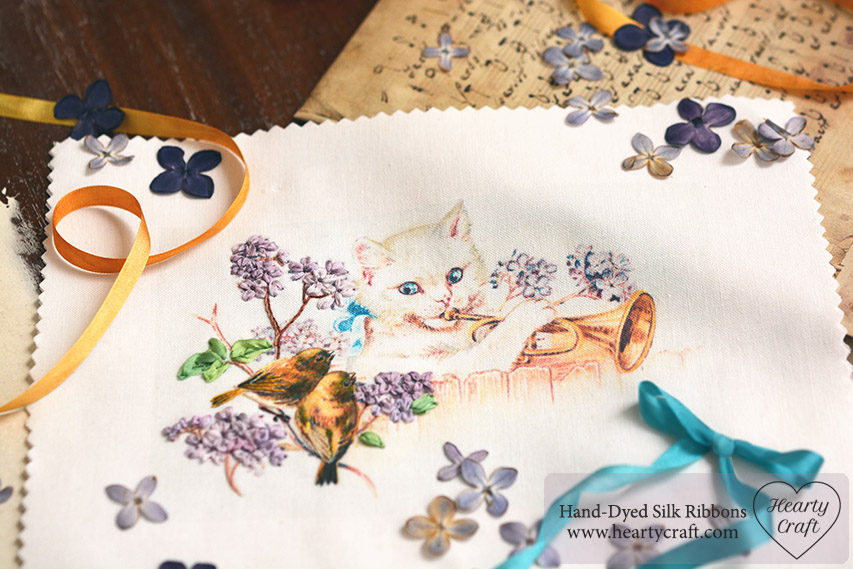 Musician Cat Silk Ribbon Embroidery