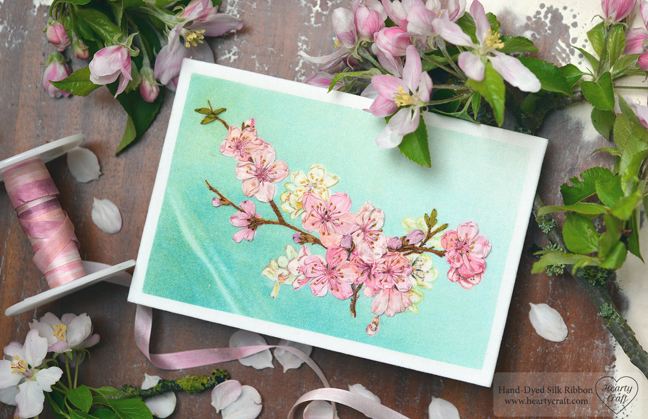 Cherry Blossom Silk Ribbon Embroidery Postcard