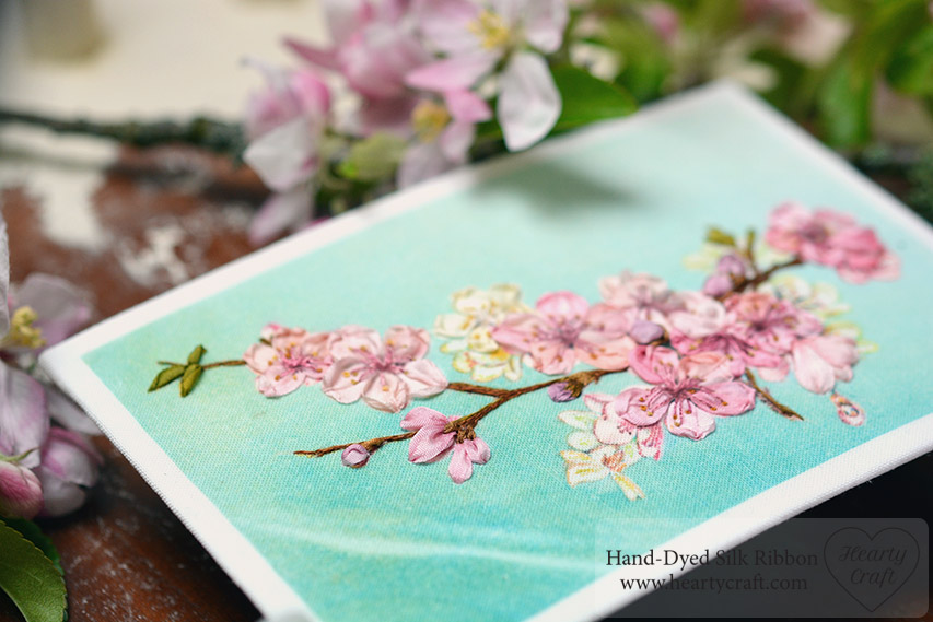Cherry Blossom Postcard Stitched with Silk Ribbons