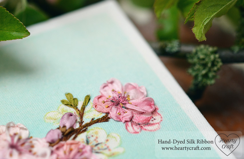 Cherry Flower. Silk Ribbon Embroidery