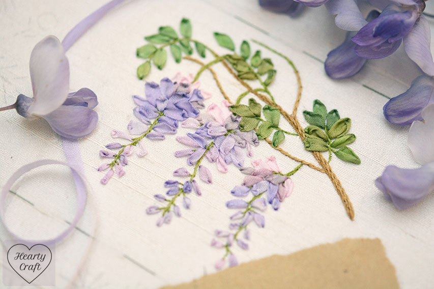 Wisteria Stitched with Silk Ribbons