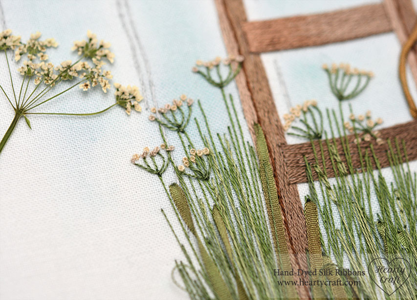 Cow Parsley in Silk Ribbon Embroidery