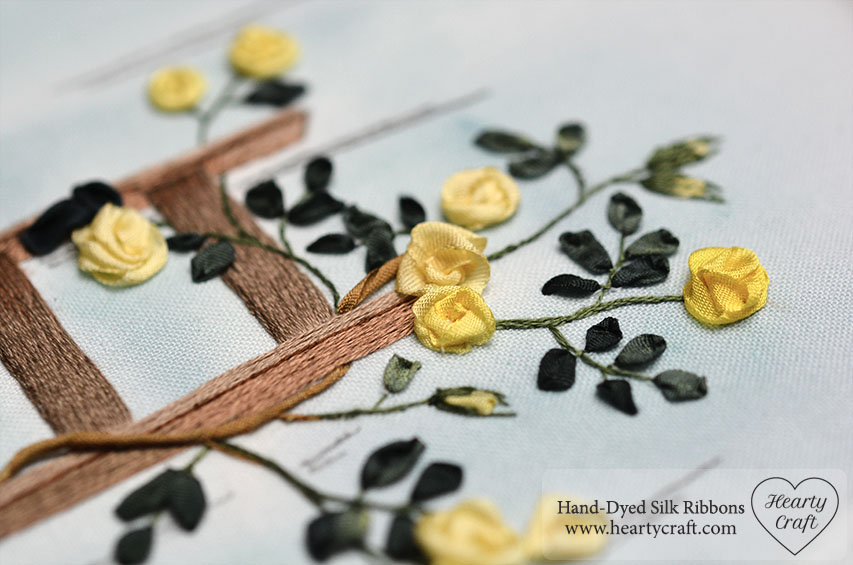 Climbing Roses Silk Ribbon Embroidery