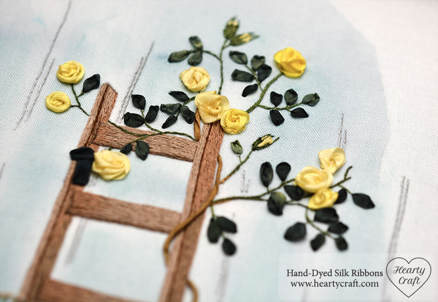 Wild Rose Garden Silk Ribbon Embroidery Hearty Craft