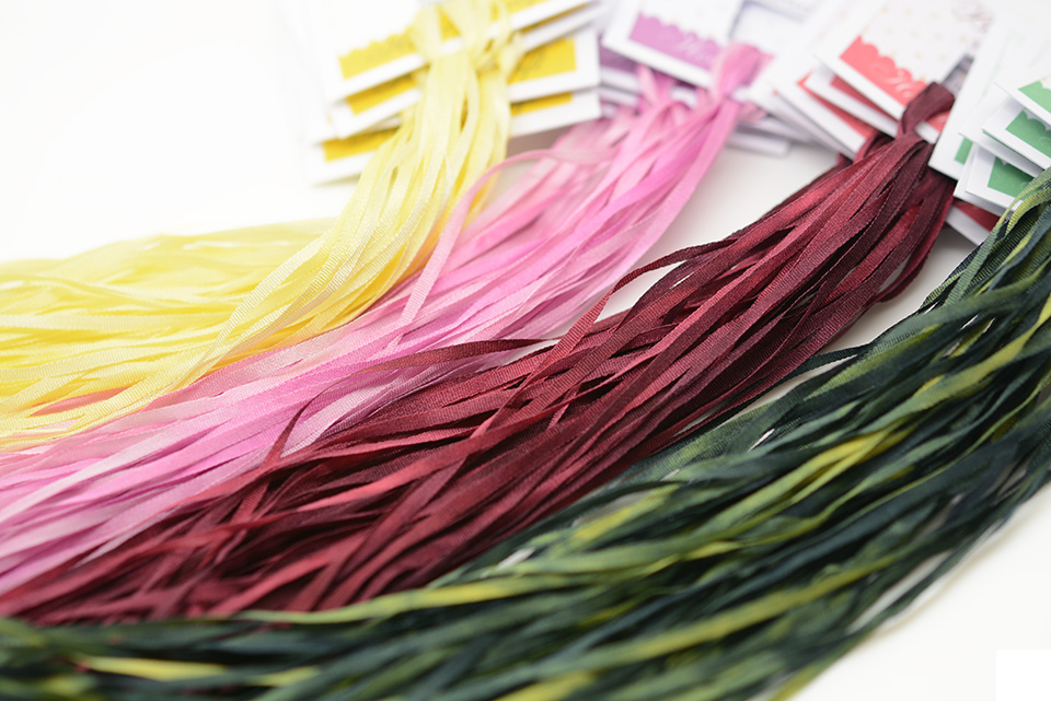 New 2mm ribbons - Vanilla, Pale Magenta, Bordeaux, and Pine