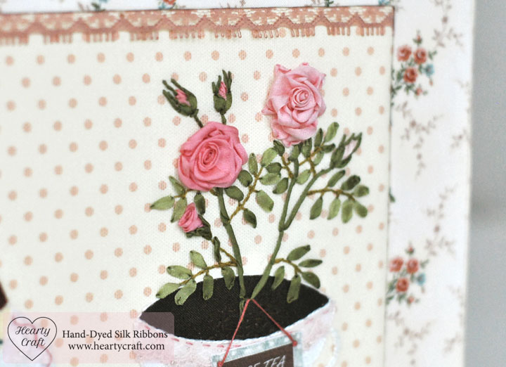 Rose Tea and Rose Dessert Silk Ribbon Embroidery by Hearty Craft
