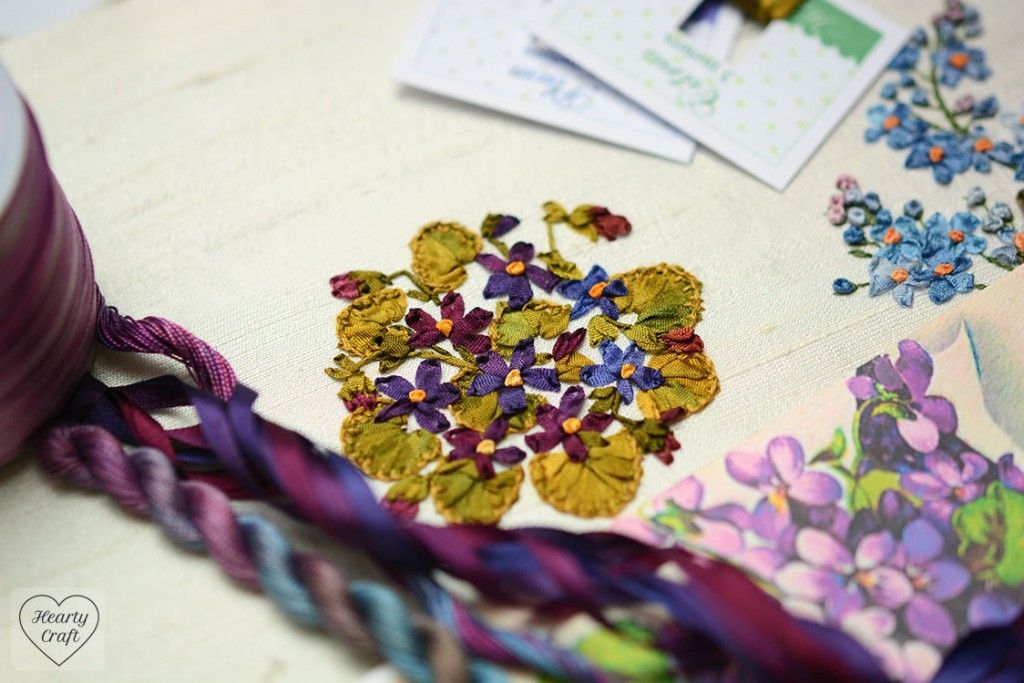Violets Silk Ribbon Embroidery