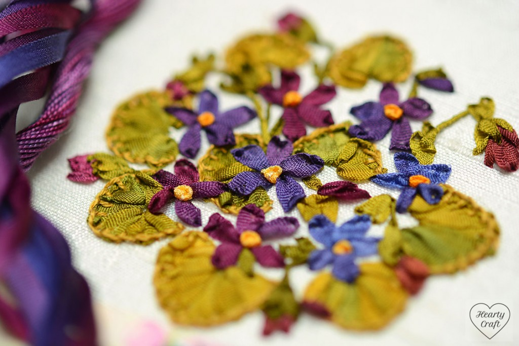 Violets Silk Ribbon Embroidery - Garden Party