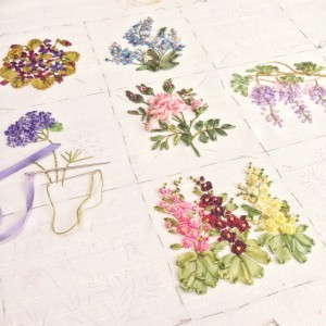 Garden Party Silk Ribbon Embroidery 6 Flowers