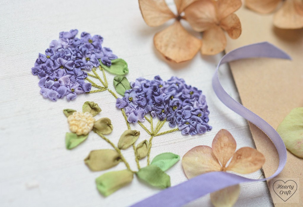 Hydrangea Stitched with Silk Ribbon