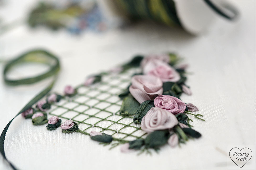 3D roses around heart - silk ribbon embroidery
