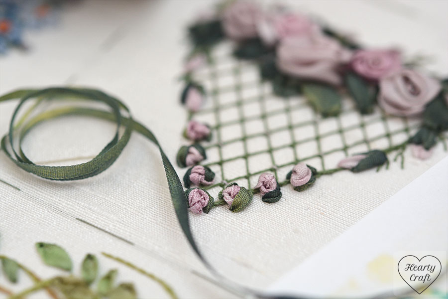 Buds of the heart with roses -  silk ribbon embroidery