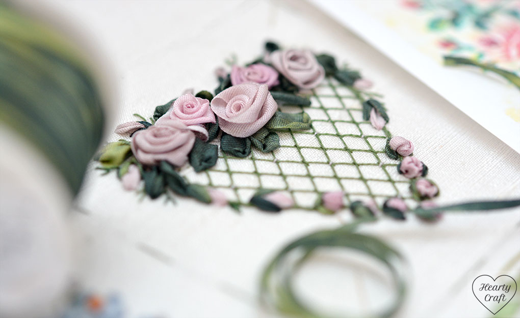 Heart with roses - silk ribbon embroidery