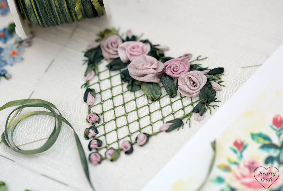Heart with folded roses - ribbon embroidery