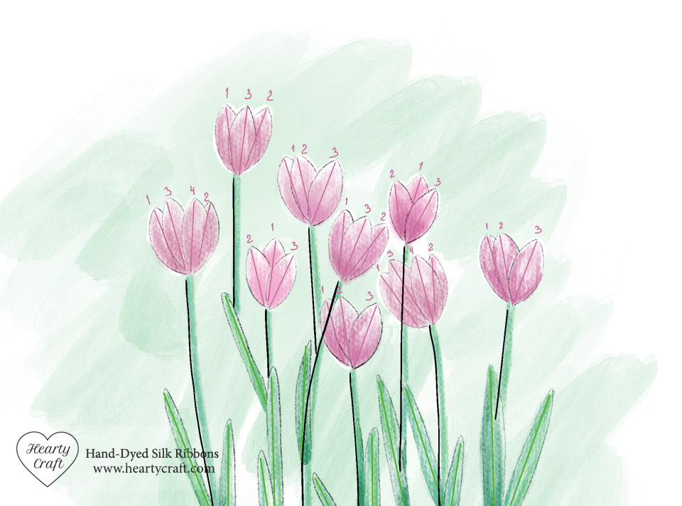 Tulips Silk Ribbon Embroidery Pattern