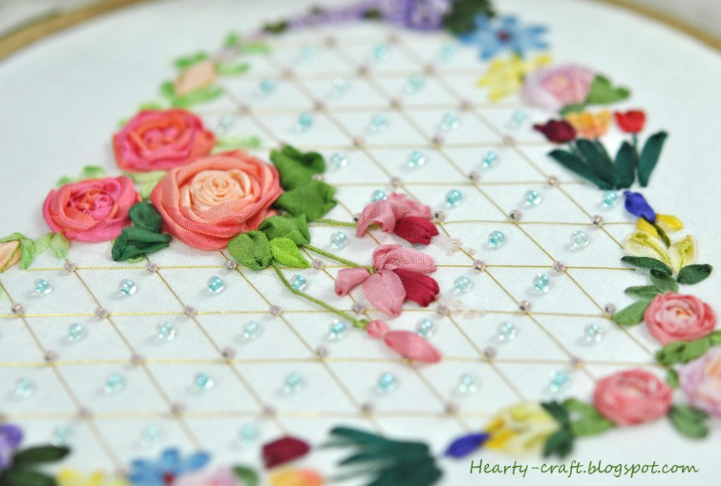 Ribbon embroidery using silk fabric
