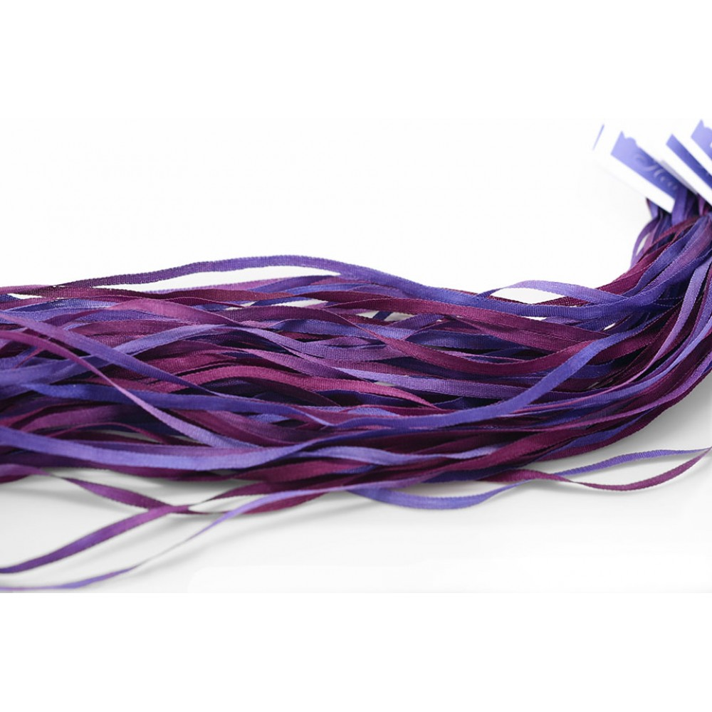 hand-dyed silk ribbon Purple Plum 2mm