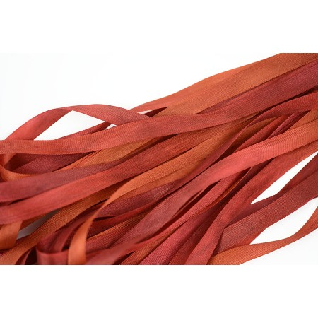 hand-dyed silk ribbon Auburn 7mm