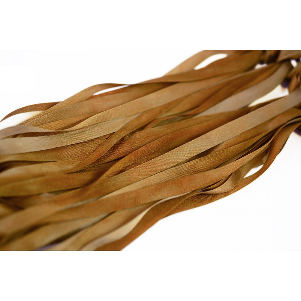 hand-dyed silk ribbon Golden Olive 7mm