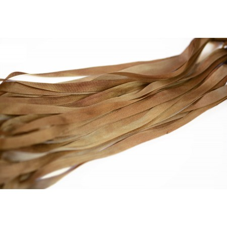 hand-dyed silk ribbon Walnut 7mm