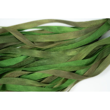 hand-dyed silk ribbon Forest 7mm