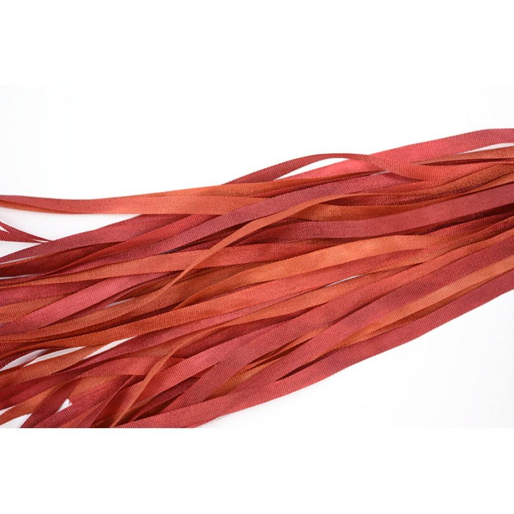 hand-dyed silk ribbon Auburn 4mm
